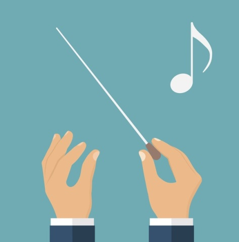 Hands of conductor orchestra